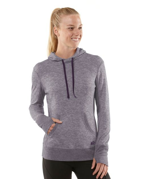 Womens R-Gear Just Blend In Wool Hoodie Long Sleeve No Zip Technical Tops - Heather Plum Pop XS