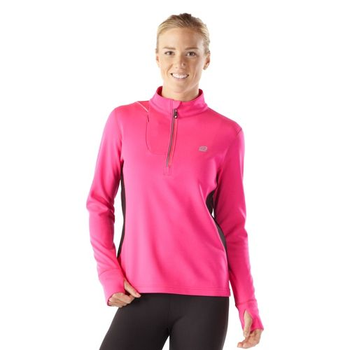 Womens R-Gear Night Watch Long Sleeve 1/2 Zip Technical Tops - Pulse Pink/Black M