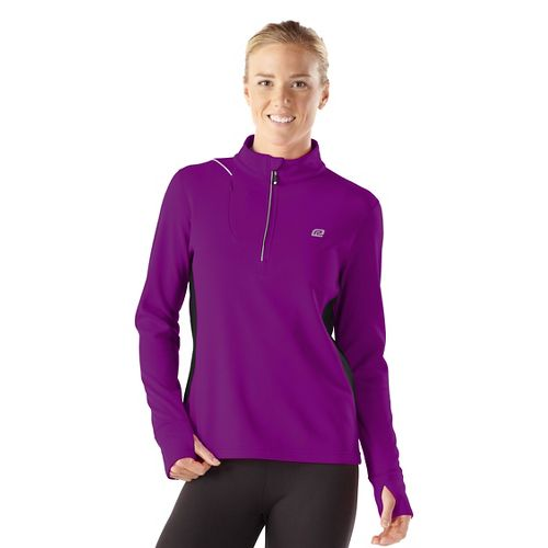 Womens R-Gear Night Watch Long Sleeve 1/2 Zip Technical Tops - Purple Shock/Black XL