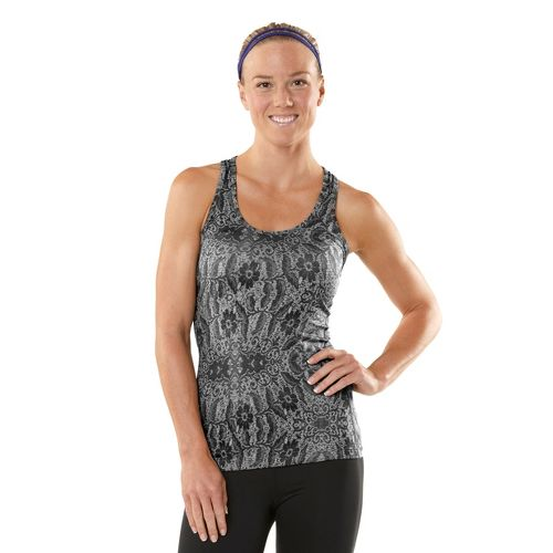 Womens ROAD RUNNER SPORTS Revive Printed Racerback Singlets Technical Tops - Heather Charcoal XL