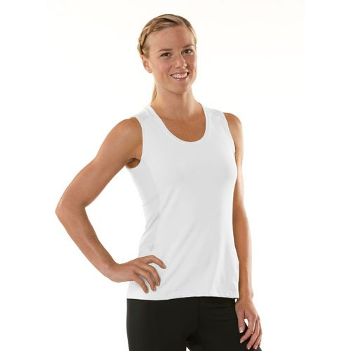 Womens ROAD RUNNER SPORTS Runner's High Sleeveless Technical Tops - White/Just Peachy XS