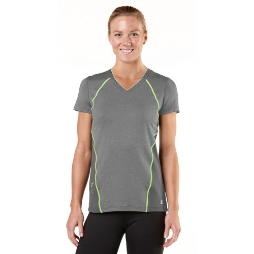 Womens ROAD RUNNER SPORTS Keep Your Cool Short Sleeve Technical Tops - Heather Charcoal/Lemon ...