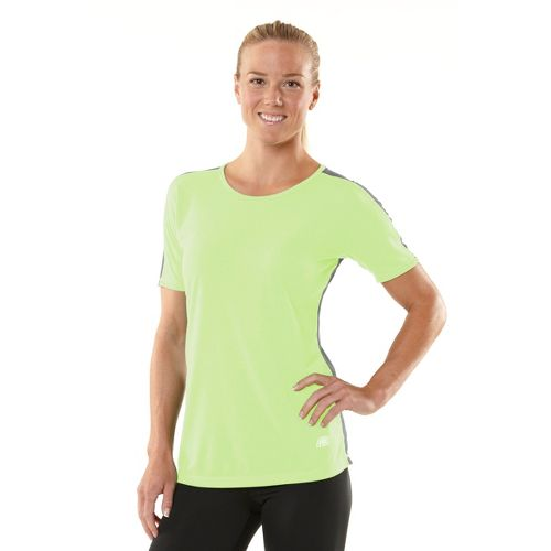 Womens R-Gear Block Party Crew Short Sleeve Technical Tops - Lemon Lime/Heather Charcoal XS