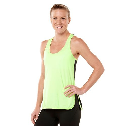 Womens ROAD RUNNER SPORTS Snap-To-It Tank Singlets Technical Tops - Lemon Lime/Charcoal M