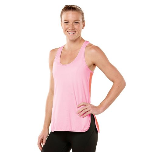 Womens ROAD RUNNER SPORTS Snap-To-It Tank Singlets Technical Tops - Tickled Pink/Just Peachy S