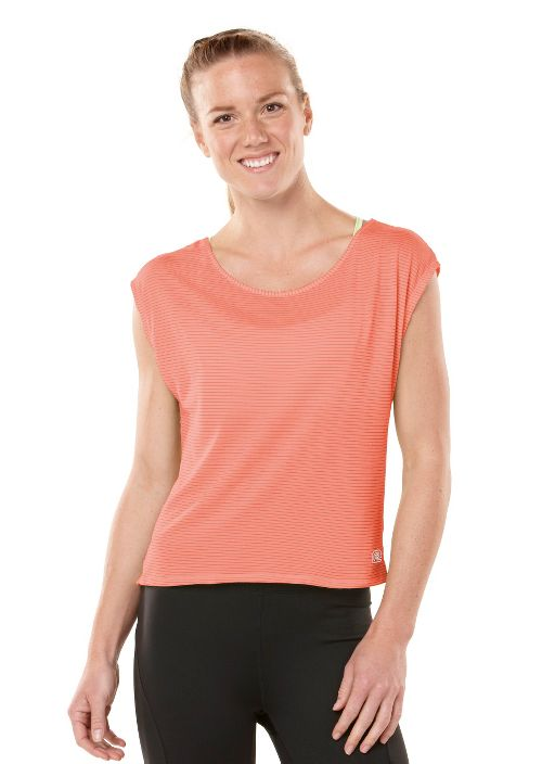 Womens ROAD RUNNER SPORTS Stripe Hype Short Sleeve Technical Tops - Just Peachy L