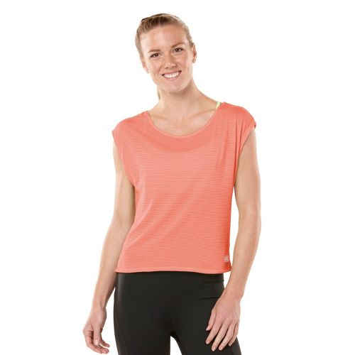 Womens ROAD RUNNER SPORTS Stripe Hype Short Sleeve Technical Tops - Just Peachy XS