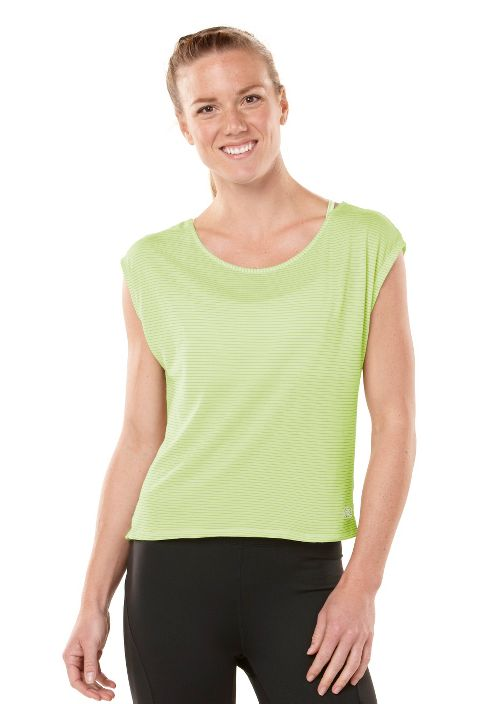 Womens ROAD RUNNER SPORTS Stripe Hype Short Sleeve Technical Tops - Lemon Lime S