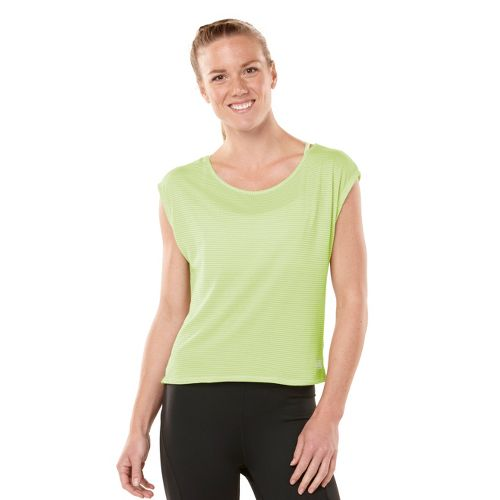 Womens ROAD RUNNER SPORTS Stripe Hype Short Sleeve Technical Tops - Lemon Lime M