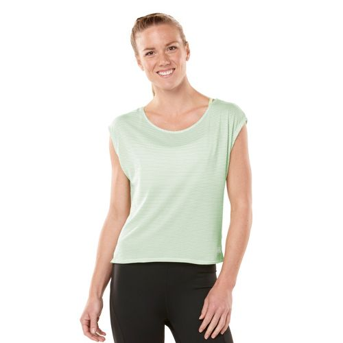 Womens ROAD RUNNER SPORTS Stripe Hype Short Sleeve Technical Tops - Mintify M