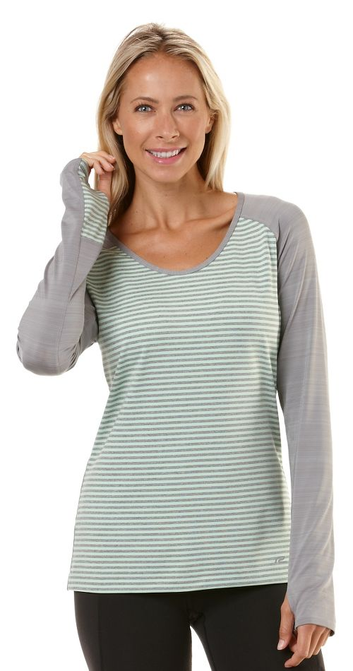 Womens Road Runner Sports Sheer Bliss Long Sleeve No Zip Technical Tops - Heather Dove ...