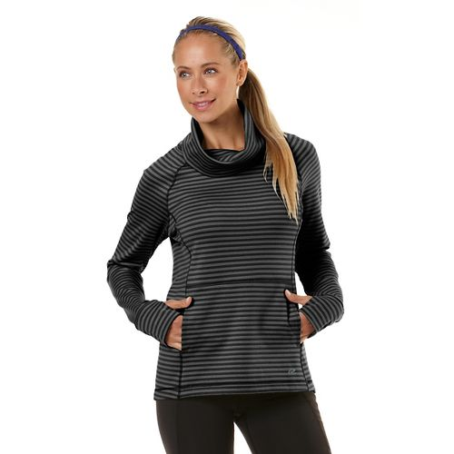 Womens Road Runner Sports Stripe Appeal Pullover Long Sleeve No Zip Technical Tops - Heather ...