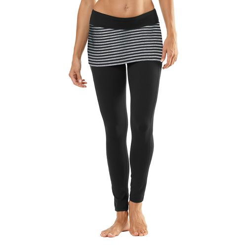 Womens Road Runner Sports Pattern Behavior Fitted Tights - Black/Heather Charcoal XS