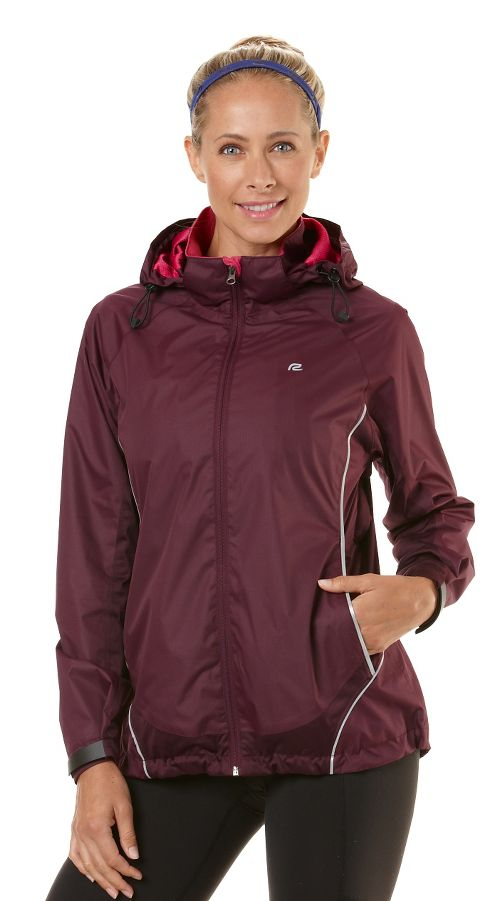 Womens Road Runner Sports Weather The Storm Outerwear Jackets - Mulberry Madness L