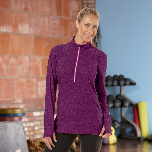 Womens R-Gear Set The Stage Long Sleeve 1/2 Zip Technical Tops - Mulberry Madness S