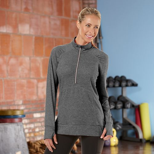 Womens Road Runner Sports Set The Stage Long Sleeve 1/2 Zip Technical Tops - Heather ...