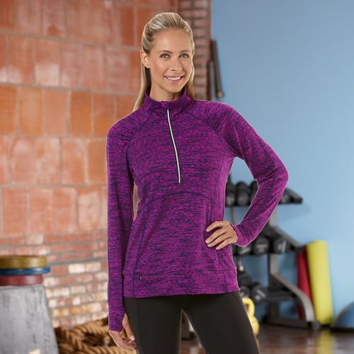 Womens Road Runner Sports Set The Stage Printed Long Sleeve 1/2 Zip Technical Tops - ...