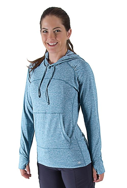 Womens R-Gear On The Move Hoodie Long Sleeve No Zip Technical Tops - Peacock Blue ...