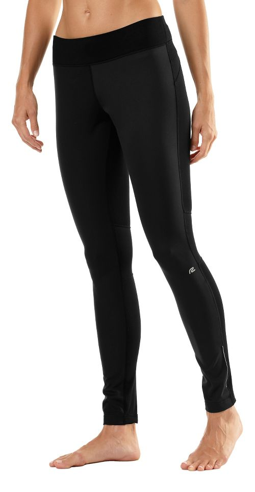 Womens Road Runner Sports Second Wind Front Fitted Tights - Black S
