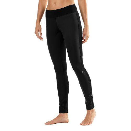 Womens Road Runner Sports Second Wind Front Fitted Tights - Black XS