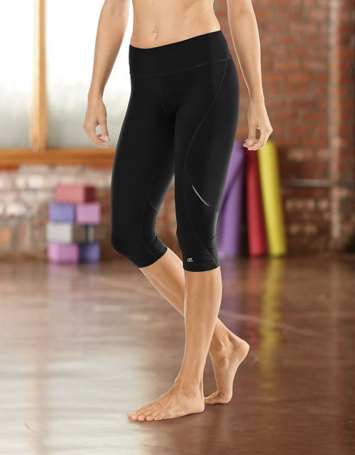 """Womens Road Runner Sports SpeedPro Compression 17"""" Knicker Fitted Tights - Black S"""