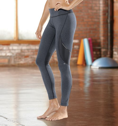 Womens Road Runner Sports SpeedPro Compression Fitted Tights - Heather Charcoal L-T