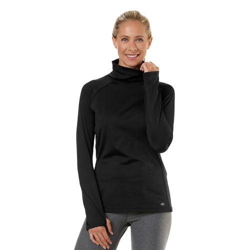 Womens Road Runner Sports Pure-n-Simple Turtleneck Long Sleeve No Zip Technical Tops - Black L ...