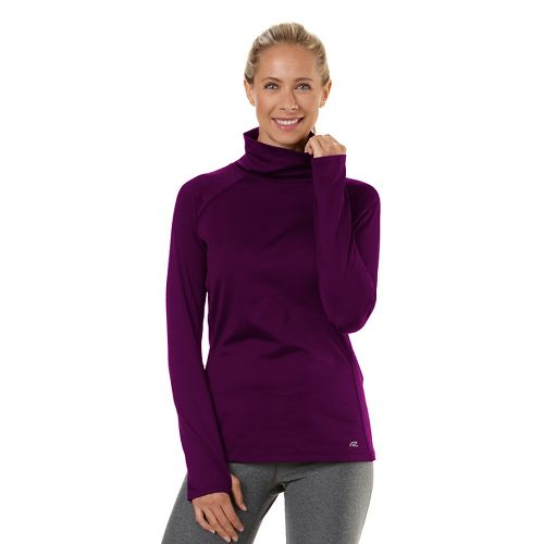 Womens Road Runner Sports Pure-n-Simple Turtleneck Long Sleeve No Zip Technical Tops - Mulberry ...