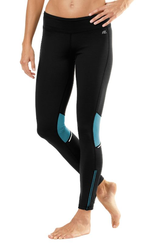 Womens Road Runner Sports Hot Pants Fitted Tights - Black/Sea Breeze XL