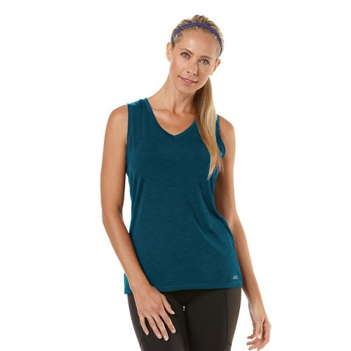 Womens Road Runner Sports Finish First Sleeveless Technical Tops - Heather Peacock Blue S