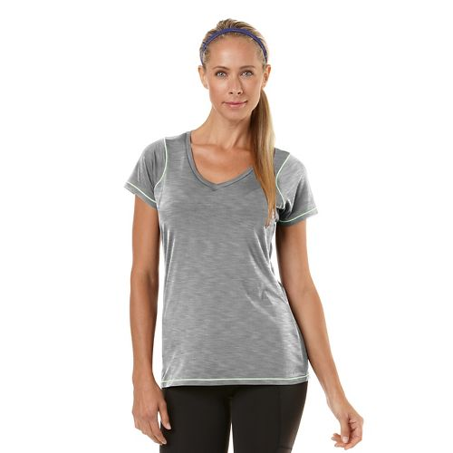 Womens Road Runner Sports Finish First Short Sleeve Technical Tops - Heather Dove Grey L ...