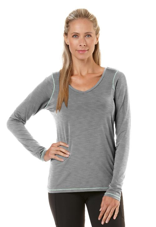Womens Road Runner Sports Finish First Long Sleeve No Zip Technical Tops - Heather Dove Grey XS