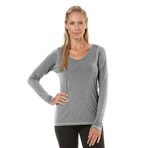 Womens Road Runner Sports Finish First Long Sleeve No Zip Technical Tops - Heather Dove Grey M