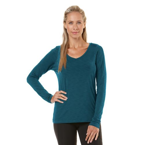Womens Road Runner Sports Finish First Long Sleeve No Zip Technical Tops - Heather Peacock ...