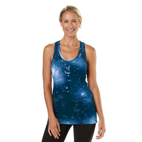 Womens Road Runner Sports Revive Printed Racerback Tanks Technical Tops - Midnight Blue M