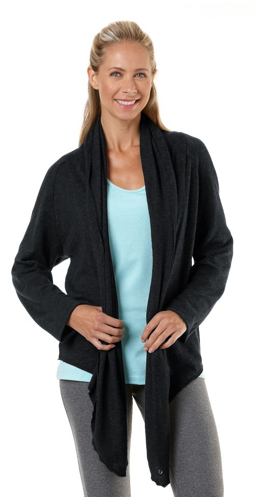 Womens Road Runner Sports Cross Your Heart Cardi Long Sleeve Non-Technical Tops - Black M