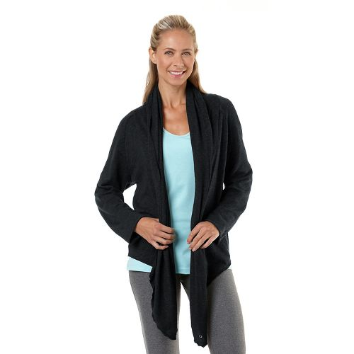 Womens Road Runner Sports Cross Your Heart Cardi Long Sleeve Non-Technical Tops - Black L ...