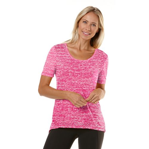 Womens Road Runner Sports Fade Away Short Sleeve Technical Tops - Passion Punch L