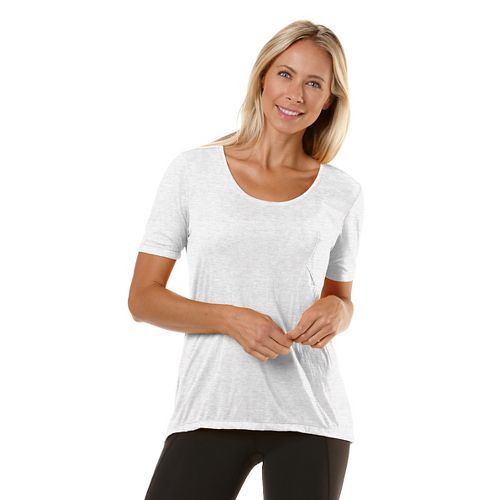 Womens Road Runner Sports Fade Away Short Sleeve Technical Tops - White M