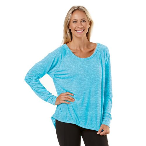 Womens Road Runner Sports Fade Away Long Sleeve No Zip Technical Tops - Sea Breeze ...