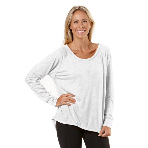 Womens Road Runner Sports Fade Away Long Sleeve No Zip Technical Tops - White L ...