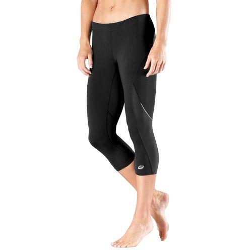 Womens Road Runner Sports High-Speed Compression Capri Tights - Black L