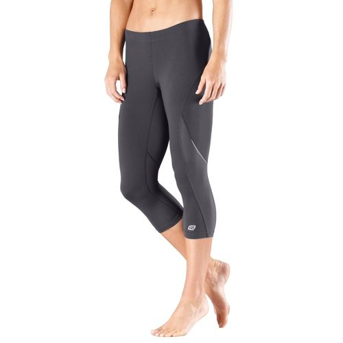 Womens Road Runner Sports High-Speed Compression Capri Tights - Charcoal L