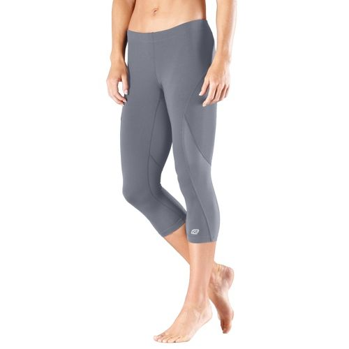 Womens Road Runner Sports High-Speed Compression Capri Tights - Grey L