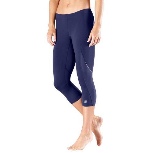 Womens Road Runner Sports High-Speed Compression Capri Tights - Midnight Blue L