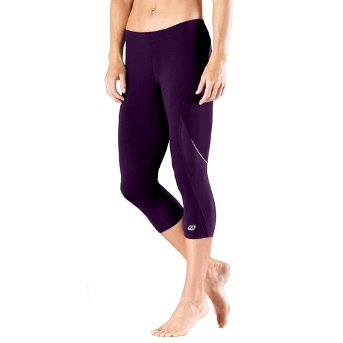 Womens Road Runner Sports High-Speed Compression Capri Tights - Plum Pop L