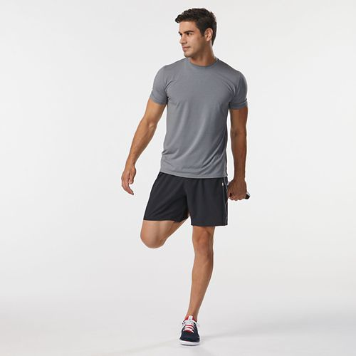 Mens Road Runner Sports All Day Crew Short Sleeve Technical Tops - Heather Grey M