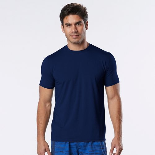 Mens Road Runner Sports Velocity Back to Basics Crew Short Sleeve Technical Tops - Midnight ...