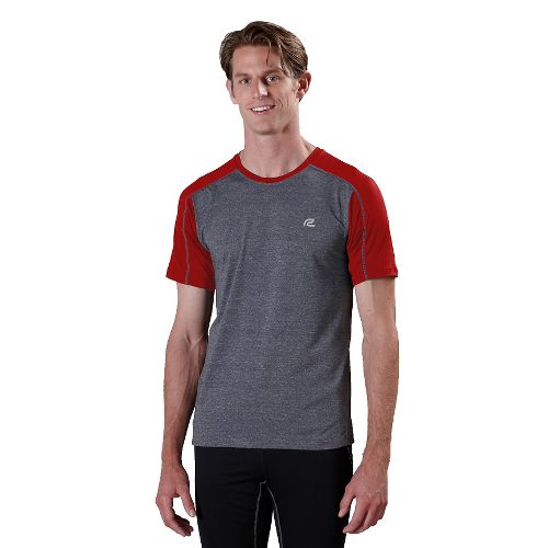 Mens ROAD RUNNER SPORTS Base Runner Short Sleeve Technical Tops - Heather Charcoal/Hotrod Red ...
