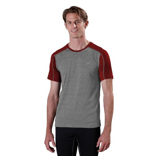 Mens ROAD RUNNER SPORTS Base Runner Short Sleeve Technical Tops - Heather Charcoal/Vintage Red ...